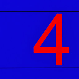 abstract 4 number red blue