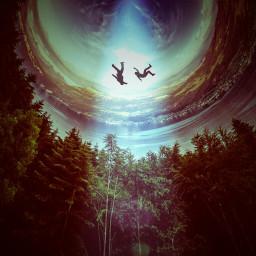 levitate people surreal northernlights swirls