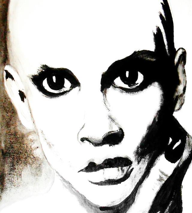 #FreeToEdit  #portrait  #traditionalpainting  #acryliconcanevas #blackandwhite  #look