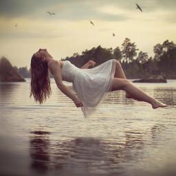 edit floating lake water girl