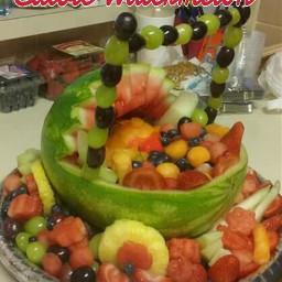 edibles arrangement watermelon babyboy carriage