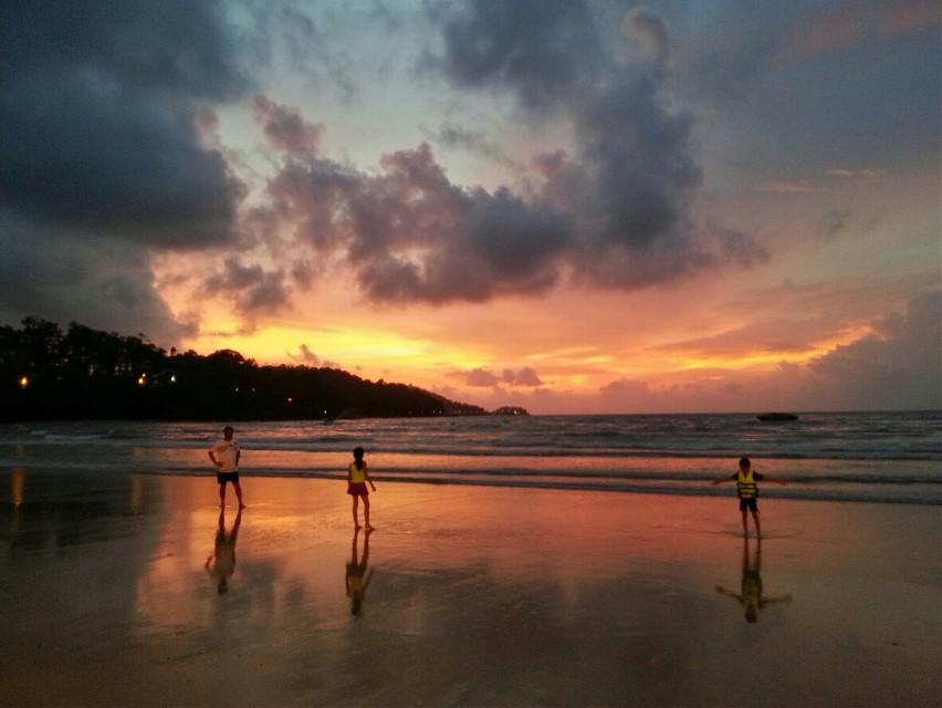 Sunset at Phatong beach, Thailand
